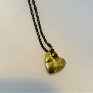 COACH Black and Gold Heart Necklace